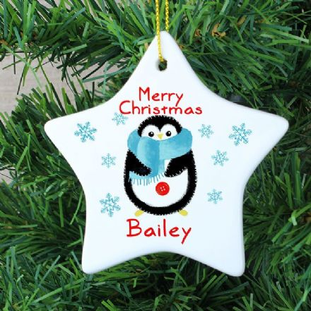 Personalised Ceramic Christmas Penguin Star Decoration